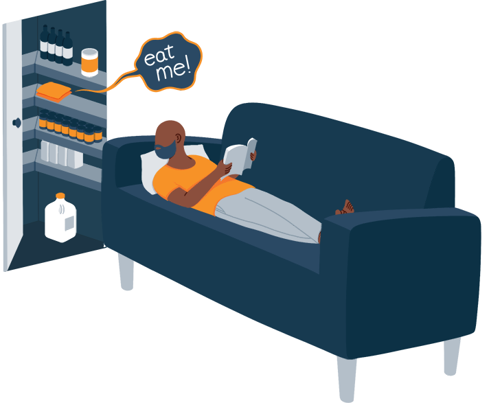 Illustration of a Man Thinking About Food While Lying Down on Couch