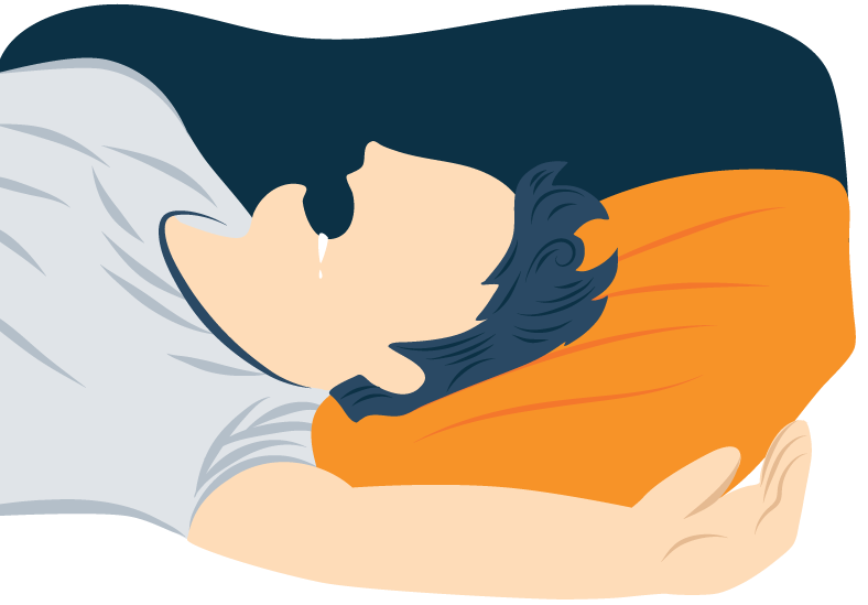 Illustration of a Person with Breathing Disorder Sleeping
