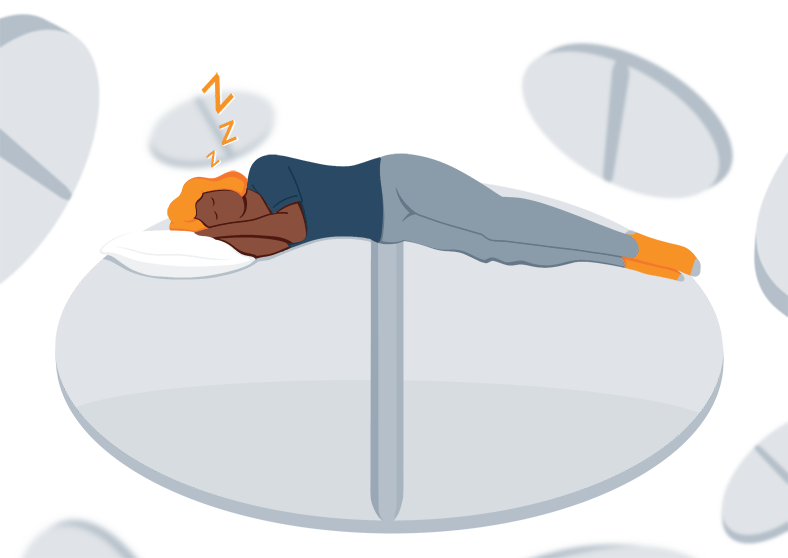 Illustration of a Sleeping Pill Addicted Woman