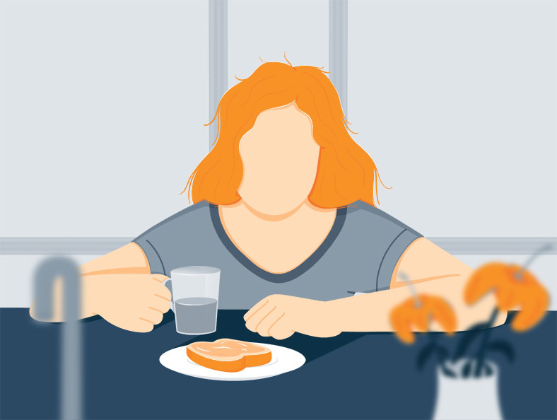 Illustration of a Tired Looking Woman Having Breakfast