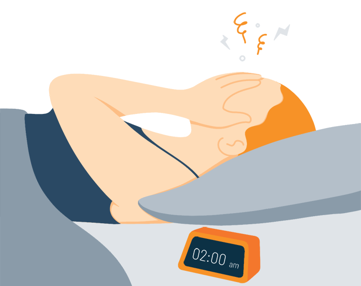 Illustration of a Tired Woman Suffering to Fall Asleep