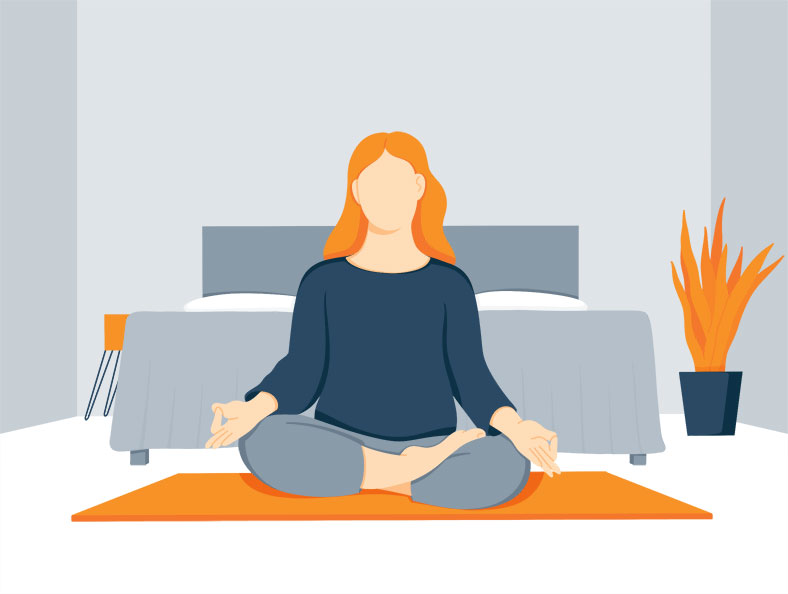 Illustration of a Woman Meditating Before Bed