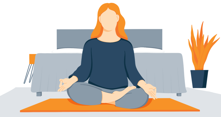 Illustration of a Woman Meditating Before Going to Bed