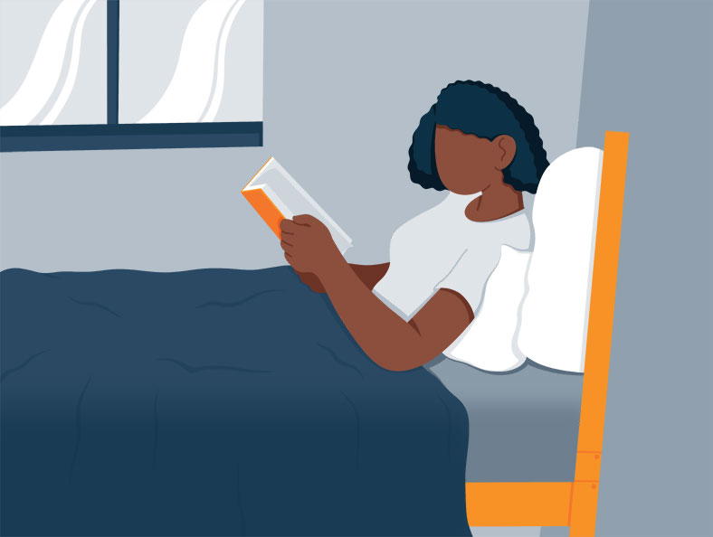 Illustration of a Woman Reading Before Bedtime