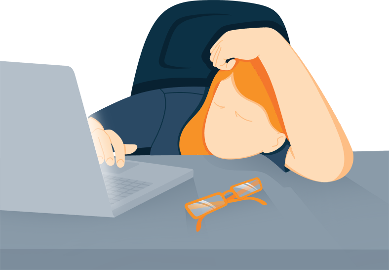 Illustration of a Woman Who Fell Asleep At Her Computer Desk
