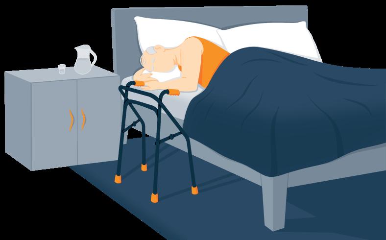 Illustration of an Elderly Man Sleeping in a Nursing Home