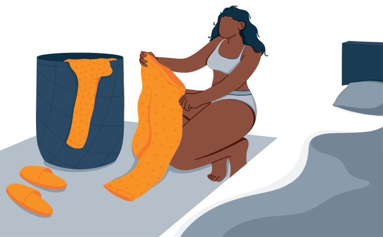 Illustration of a Woman Picking a Pajama to Wear