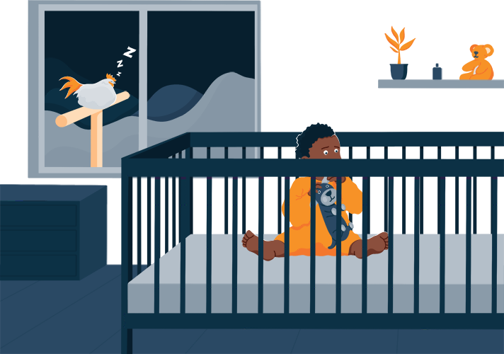 Illustration of a Baby Who Woke up In the Middle of the Night