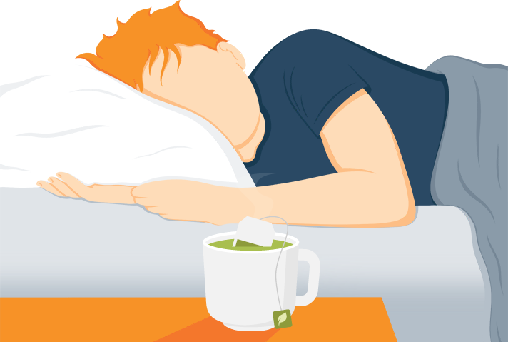 Illustration of a Man Sleeping with a Cup of Green Tea on the Night Stand