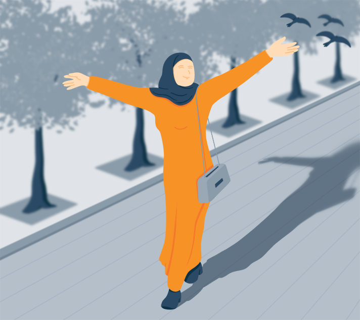 Illustration of a Woman Enjoying the Sun in the Park