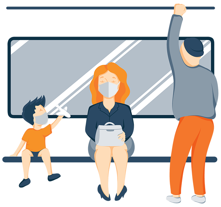 Illustration of a Woman and a Kid on a Bus With a Face Masks On