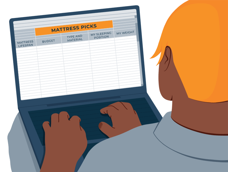 Illustration of a Person Making a List of Matttress Picks They'd Like To Buy